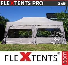 Gazebo Rapido FleXtents Pro 3x6m Latte, incl. 6 pareti laterali e 6...
