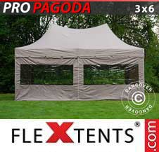 Gazebo Rapido FleXtents Pro 3x6m Latte, incluso 6 pareti...