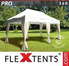 Gazebo Rapido FleXtents Pro 3x6m Bianco, incl. 6 tendaggi decorativi