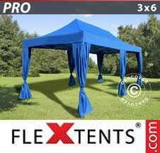 Gazebo Rapido FleXtents Pro 3x6m Blu, incl. 6 tendaggi decorativi