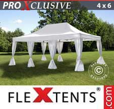 Gazebo Rapido FleXtents Pro 4x6m Bianco, incl. 8 tendaggi decorativi