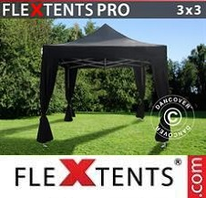 Gazebo Rapido FleXtents Pro 3x3m Nero, incl. 4 tendaggi decorativi