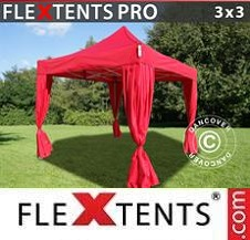 Gazebo Rapido FleXtents Pro 3x3m Rosso, incl. 4 tendaggi decorativi