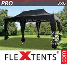 Gazebo Rapido FleXtents Pro 3x6m Nero, incl. 6 tendaggi decorativi