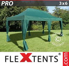 Gazebo Rapido FleXtents Pro 3x6m Verde, incl. 6 tendaggi decorativi