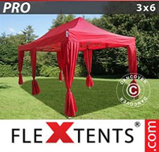 Gazebo Rapido FleXtents Pro 3x6m Rosso, incl. 6 tendaggi decorativi