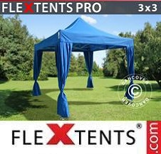 Gazebo Rapido FleXtents Pro 3x3m Blu, incl. 4 tendaggi decorativi
