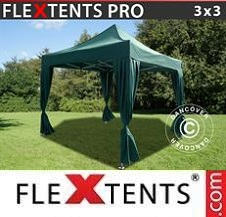 Gazebo Rapido FleXtents Pro 3x3m Verde, incl. 4 tendaggi decorativi