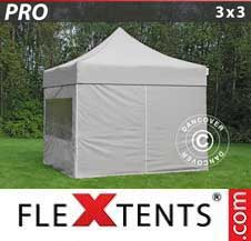 Gazebo Rapido FleXtents Pro 3x3m Latte, inclusi 4 fianchi