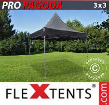 Gazebo Rapido FleXtents Pro 3x3m Nero, incluso 4 pareti...