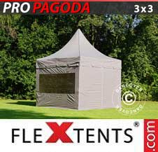 Gazebo Rapido FleXtents Pro 3x3m Latte, incluso 4 pareti...