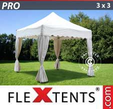 Gazebo Rapido FleXtents Pro 3x3m Bianco, incl. 4 tendaggi decorativi